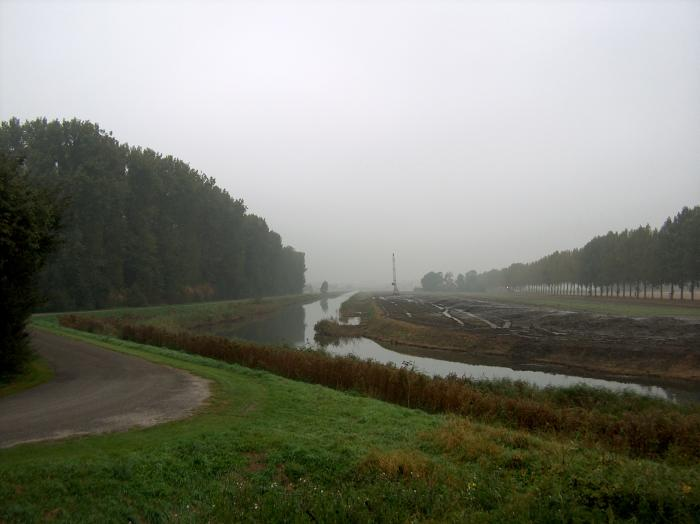 dutch, holland, photo, foto, vaart, kanaal, hijskraan, bagger, mist, Wieringermeer, canal, autumn